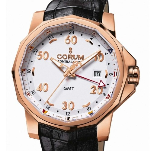 Corum Admirals Cup GMT 44 (RG / White / Leather)