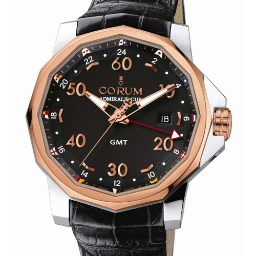 Corum Admirals Cup GMT 44 (SS / RG-Black / Leather)