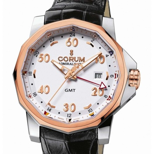 Corum Admirals Cup GMT 44 (SS / RG-White / Leather)