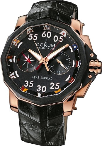 Corum Corum Admiral's Cup Leap Second 48 (RG / Black/ Leather)