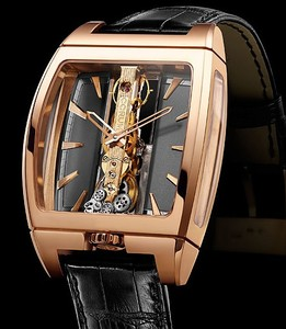 Corum Golden Bridge Automatic (RG / Slate Grey Skeleton / Leather Strap)