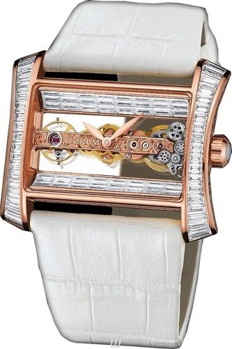 Corum Golden Bridge Lady (RG / Baguette Diamonds / Skeleton / Leather)