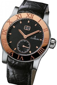 Corum Romulus Big Date (SS-RG/black /Leather )
