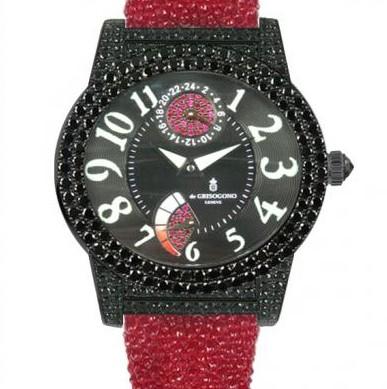 de Grisogono Tondo Ladies (Black WG-Diamonds / Black / Red Strap)