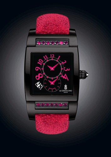 de Grisogono Uno DF N26/A (SS-PVD / Black / Pink Gems)