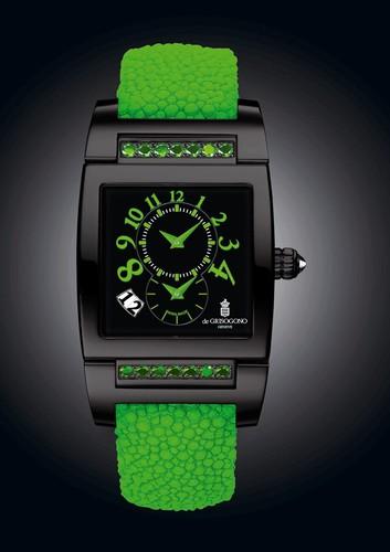 de Grisogono Uno DF N28/A (SS-PVD / Black / Green Gems)