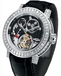 DeWitt Tourbillion Differential Joaillerie(WG-Baguette / Black Guilloche / Leather) AC.8200.48 / 02.M954