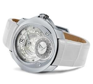 Franc Vila Franc Vila Tribute Jumping Hours Automatique White Ivy Edition HJL1 with Diamonds (SS / Silver / Strap) FVt28