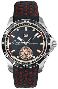 Glashutte Original Impact Tourbillon (SS / Black / Black-Red Fabric Strap) 94-01-03-03-03