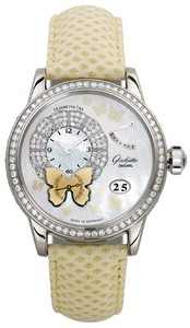 Glashutte Original Pretty Butterfly (WG / MOP-Diamonds / Yellow Leather Strap) 65-01-70-70-04