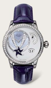 Glashutte Original Sea Shell (WG / MOP-Diamonds / Violet Leather and Satin Strap) 90-02-61-61-04