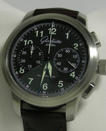 Glashutte Original Senator Navigator Chronograph (SS / Black / Leather) 39-34-17-17-04