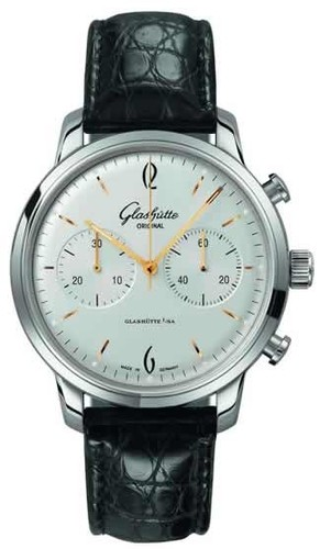 Glashutte Original Senator Sixties Chronograph (SS / Silver / Leather) 39-34-03-22-04