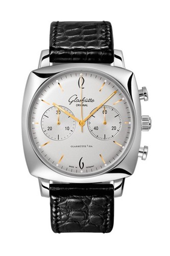 Glashutte Original Senator Sixties Square Chronograph (SS / Silver / Leather) 39-34-03-32-04