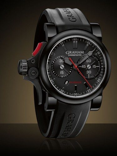 Graham Chronofighter Trigger Flyback (SS-PVD / Black / Rubber Strap) 2TRAB.B10A