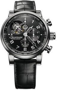 Graham Silverstone Tourbillograph (SS / Black / Leather Strap) 2TSAS.B02A