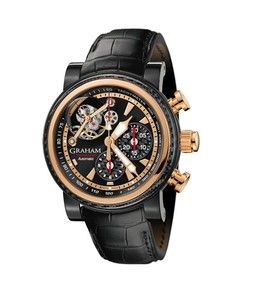 Graham Tourbillograph Silverstone Woodcote (SS-PVD-RG / Black / Leather Strap) 2TWAO.B01A