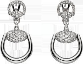 Серьги Gucci Horsebit White Gold Earrings YBD235768001