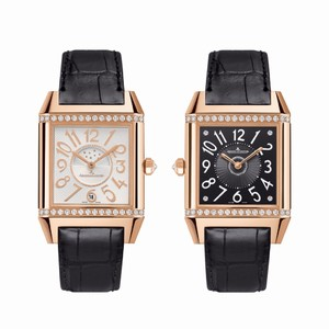 Jaeger LeCoultre Reverso Squadra Ladies Duetto Q7052420 (RG-Diamonds / Silver-Black / Leather)