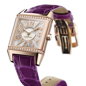 Jaeger LeCoultre Reverso Squadra Lady Automatic (PG-Diamonds / MOP / Leather Strap) Q7042493