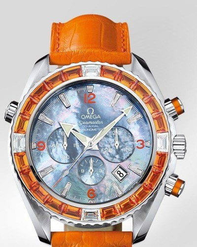 Omega Seamaster Specialities Jewellery Chronograph with Diamonds (SS / Black-Mother-of-Pearl / Strap) 222.28.46.50.57.004