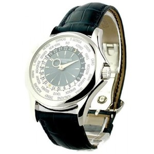 Patek Philippe World Time 5130P Platinum / Silver-Blue / Leather Strap