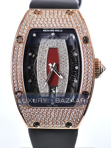 Richard Mille RM 007 Rose Gold Full Pave Case (Diamonds / Burgundy-Diamond / Leather)