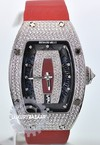 Richard Mille RM 007 White Gold Full Pave Case (Diamond/Burgundy-Diamond/Red Satin)