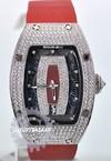 Richard Mille RM 007 White Gold Full Pave Case (Diamond/Burgundy-Diamond/Red Satin)