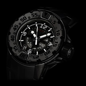 Richard Mille RM 028 Boutique Special All Black Divers (Titanium-DLC / Skeletonized / Rubber Strap)