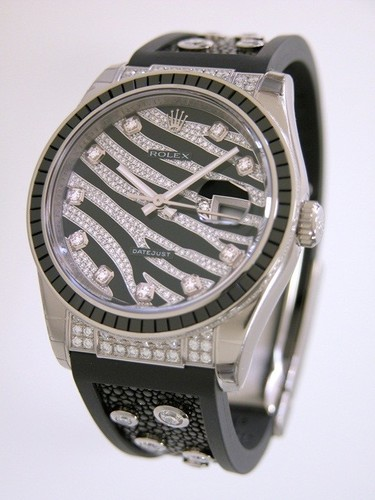 Rolex Datejust (WG-Baguette Diamonds / Diamonds / Rubber-Galuchat) 116199 SANR