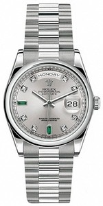 Rolex Day-Date 36mm Platinum 118206 Emerald