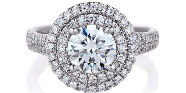 De Beers Aura Double Halo diamond engagement ring